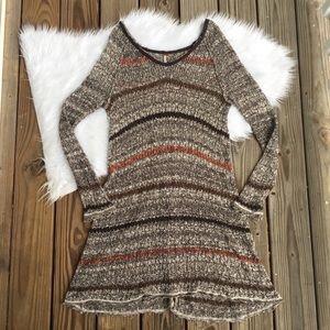 Free People Open Back Knit Wrap Tunic Dress